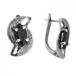 Серебряные серьги Yaffo с черным фианитом SAE059-1