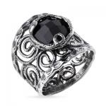 Серебряное кольцо Yaffo с черным фианитом SAR137-1