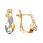 Серьги золотые с фианитами 01С1112306Р