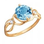 Золотое кольцо с топазом 01К3112178-5
