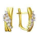 Серьги золотые с фианитами 01С1312207Р