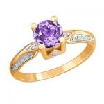 Золотое кольцо с аметистом 01К3112169Р-2