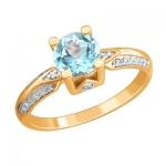 Золотое кольцо с топазом 01К3112169Р-1