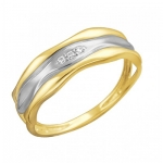Кольцо из желтого золота с фианитами 01К1312328Р