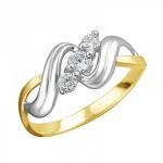 Кольцо из желтого золота с фианитами 01К1312307Р