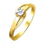 Кольцо из желтого золота с бриллиантами 01К6612252Ж