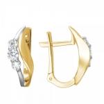 Серьги из желтого золота с фианитами 01С1312305Р