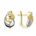 Серьги из желтого золота с фианитами 01С1312313Р