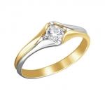 Кольцо из желтого золота с фианитами 01К1312309Р