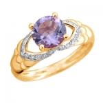Золотое кольцо с аметистом 01К3112167Р-2