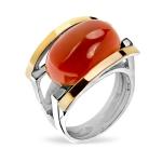 Серебряное кольцо Yaffo с карнелианом и золотом SAR1373