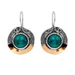 Серебряные серьги Yaffo с бирюзой и золотом SAE1363