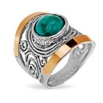 Серебряное кольцо Yaffo с бирюзой и золотом SAR1362