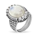 Серебряное кольцо Yaffo с лунным камнем и фианитами SAR1334