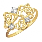 Кольцо из желтого золота с фианитами 01К1312222