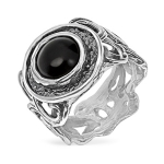Серебряное кольцо Yaffo с черным ониксом SAR1481