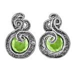 Серебряные серьги Yaffo с зеленым кварцем SAE1465