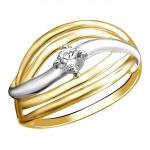 Золотое кольцо с фианитами 01К1312909Р
