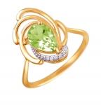 Кольцо с хризолитом из красного золота 01К3111104-4
