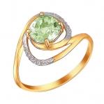 Кольцо с хризолитом из красного золота 01К3111151-3