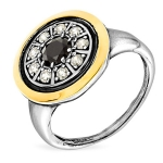 Серебряное кольцо Yaffo с фианитом и золотом SAR1292BCZ