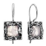 Серебряные серьги Yaffo с розовым кварцем SAE586WG