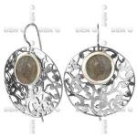 Серьги из серебра Deno с лабрадором и золотом MVE1037GLB