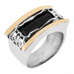 Кольцо из серебра Deno с ониксом и золотом MVR378GON