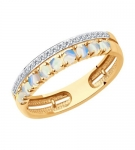 Кольцо из золота с бриллиантами и опалами 6014197