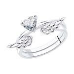 Кольцо из серебра с родированием с фианитом 94013289