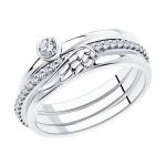 Кольцо из серебра с фианитами 94013313