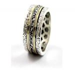 Серебряное кольцо с гранатом и золотом SNR4805GGR