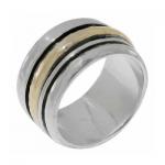 Серебряное кольцо Deno с золотом SNR665G
