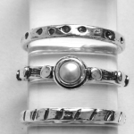 Набор из трех колец Deno из серебра с жемчугом 01R598/4PL