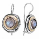 Серебряные серьги с лабрадором и золотом MVE1103GLB