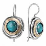 Серебряные серьги с бирюзой и золотом MVE1103GTQ