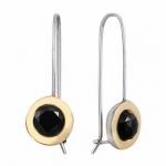 Серебряные серьги Deno с ониксом и золотом MVE1732/1GON