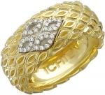 Ажурное кольцо из комбинированного золота с бриллиантами 01К686347L