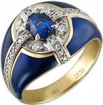 Эксклюзивный перстень из золота с бриллиантами, сапфирами и эмалью 01Т688336Э