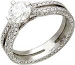 Эксклюзивное кольцо из золота с бриллиантовыми дорожками 01К676259