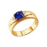Печатка из золота с бриллиантами и корундом сапфировым 6012021
