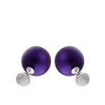 Серебряные пуссеты в стиле «Диор» лилового цвета с инкрустированными фианитами HH000017114