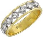 Кольцо дорожка из комбинированного золота с фианитами 01К164815Ж