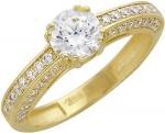 Кольцо дорожка из золота с фианитами 01К135332