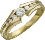 Кольцо дорожка из золота с фианитами 01К135533