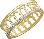 Кольцо дорожка из золота с фианитами в виде короны 01К137417