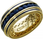 Кольцо дорожка из золота с сапфирами и эмалью 01О540184ЭL