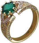 Кольцо из комбинированного золота с бриллиантами и изумрудами 01К683990L