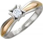 Кольцо из комбинированного золота с фианитами 01К165427