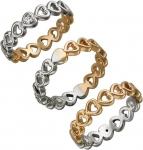 Кольцо из комбинированного золота с фианитами в виде сердечек 01К168408